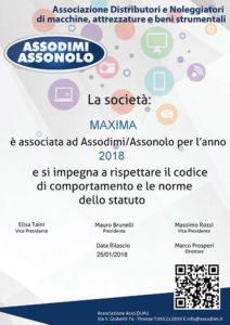 Certificato di adesione ASSODIMI ASSONOLO
